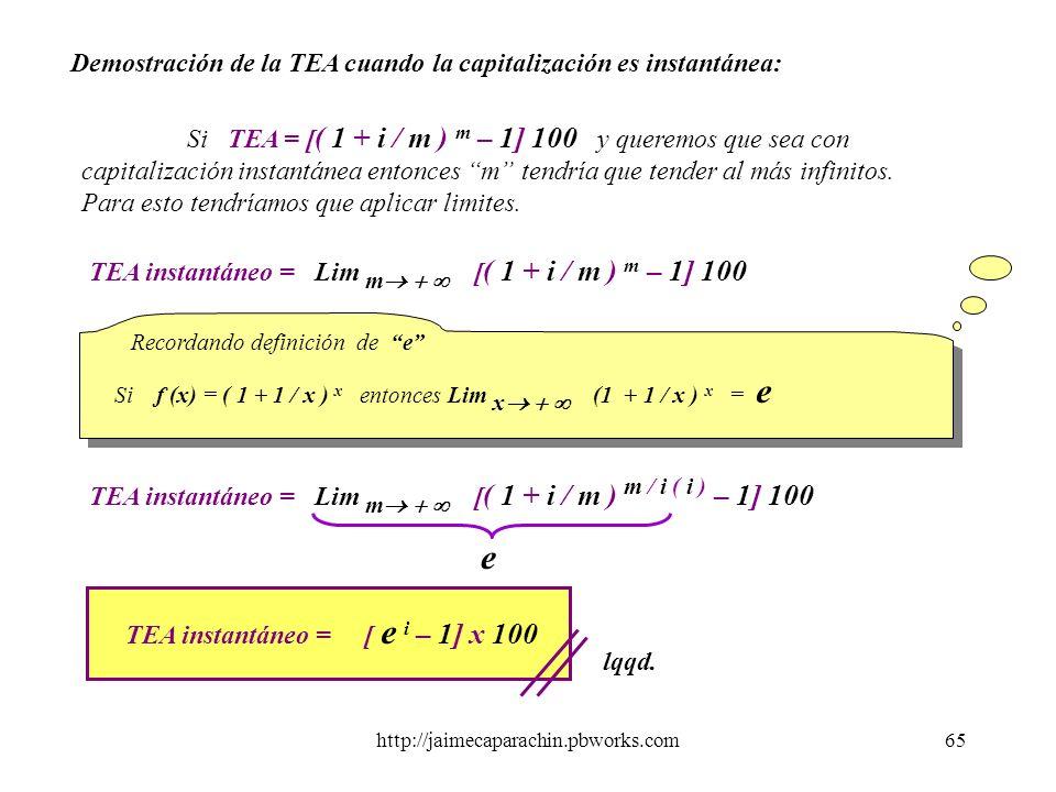 TEA instantáneo = [ e i – 1] x 100